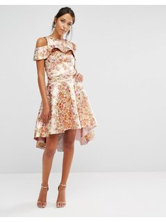 Chi Chi High Low Skirt Co-ord in Rose Gold Jacquard - Gold