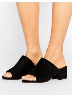 Truffle Collection Mid Heel Mule - Black