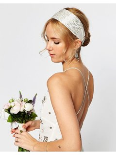 ASOS WEDDING Seedbead Headband - Silver