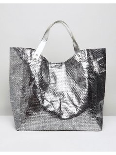 Vincent Pradier Woven Pewter Beach Tote Bag - Silver