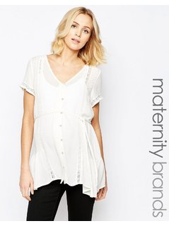 Mamalicious Folk Detail Woven Top - White