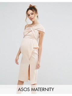 ASOS Maternity Bow Front Midi Pencil Dress with Mesh Detail - Pink