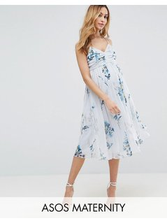 ASOS Maternity Mesh Floral Ruched Midi Dress - Multi