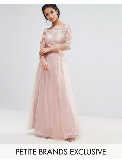 Chi Chi London Petite Allover Lace Top Maxi Dress With Tulle Skirt - Pink