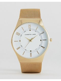 Christian Lars Gold Bracelet Watch with Round White Dial - Gold