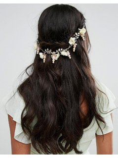 Her Curious Nature White Blossom and Pearl Hair Comb - Cream