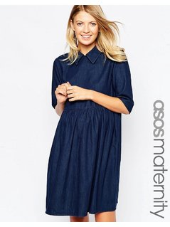ASOS Maternity Denim Babydoll Dress - Blue