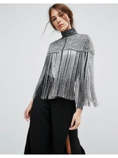 ASOS Grey Tassel Embellished Cape - Grey