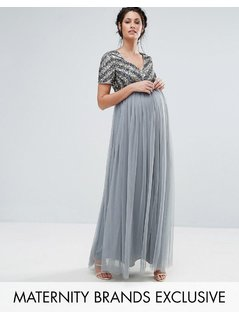 Maya Maternity V Neck Embellished Bodice Maxi Dress - Blue