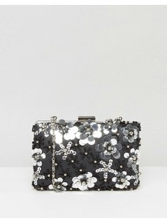 Chi Chi London 3D Floral Embellished Clutch Bag - Black