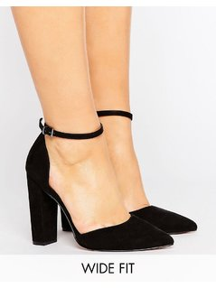 ASOS PENALTY Wide Fit Pointed Heels - Black