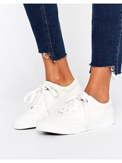 New Look Leather Look Lace Up Trainer - White