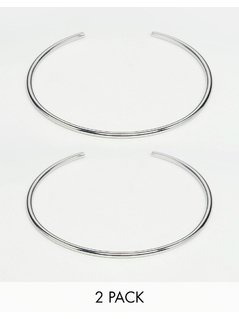 ASOS Pack of 2 Fine Silver Arm Cuffs - Silver