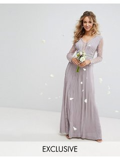 TFNC WEDDING Pleated Maxi Dress with Long Sleeves and Lace Inserts with Embellished Waist - Grey