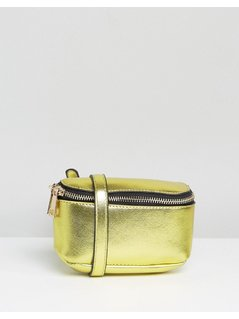ASOS Boxy Metallic Bum Bag - Gold