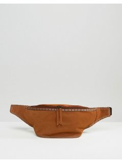ASOS Bum Bag In Faux Suede With Patterned Trim - Brown