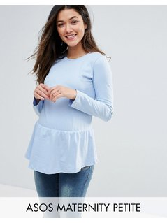 ASOS Maternity PETITE Top with Exagerated Ruffle Hem and Long Sleeve - Blue