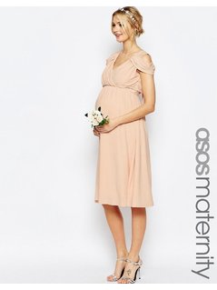 ASOS Maternity WEDDING Drape Cold Shoulder Midi Dress - Pink
