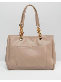 ASOS Tote Bag With Statement Chunky Chain Detail - Brown