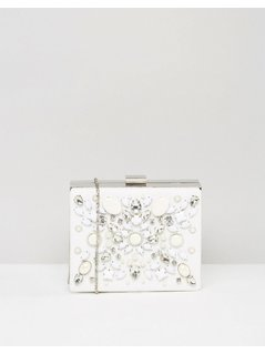 Chi Chi London Embellished Box Clutch Bag - White