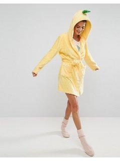 ASOS Pineapple Quilted Fleece Robe - Yellow