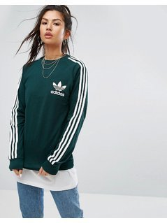 adidas Originals Long Sleeve Pique Top In Green - Green