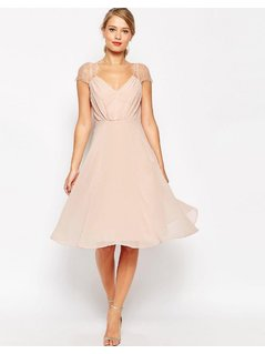 ASOS Kate Lace Midi Dress - Pink