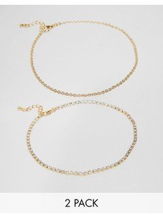 ASOS Pack of 2 Multirow Fine Chain&Crystal Anklets - Gold