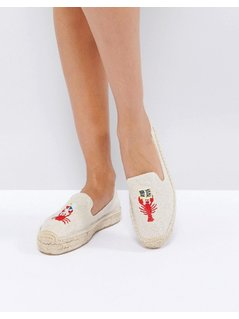 Soludos x Mary Matson Natural Lobster and Crab Double Platform Espadrilles - Beige