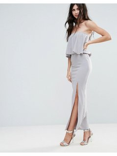 Missguided Grey Crepe Frill Side Split Maxi Dress - Grey