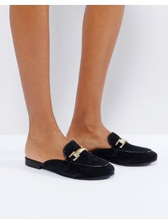 Park Lane Leather Mule Loafers - Black