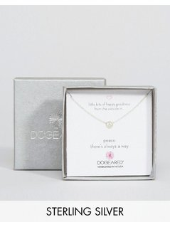 Dogeared Sterling Silver Little Bits of Happy Mini Peace Limited Edition Boxed Necklace - Silver