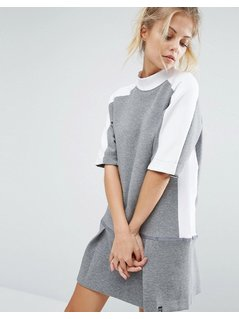 Nike Premium Court Sweat Dress With Drop Waist - Grey