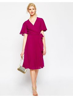 ASOS Pleated Wrap Midi Dress - Red