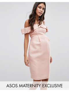 ASOS Maternity Bow Cold Shoulder Occasion Dress - Pink