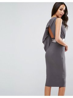 ASOS Drape Open Back Midi Dress With Metallic Belt - Grey