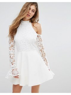 Missguided Lace Cold Shoulder Skater Dress - White