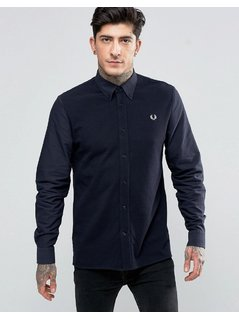Fred Perry Shirt With Contrast Front In Navy In Slim Fit - Navy