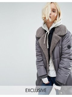 Puffa Oversized Longline Bomber Jacket With Faux Shearling Shawl Collar - Grey