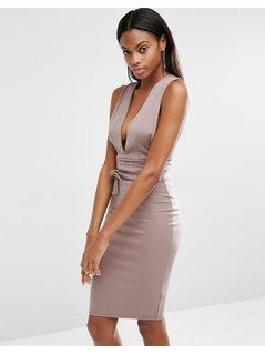 Missguided Tie Waist Midi Dress - Beige