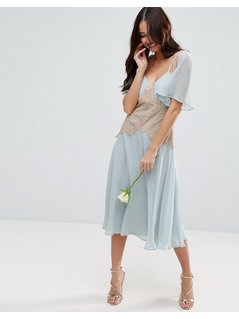 ASOS WEDDING Contrast Lace Panel Midi Dress - Blue