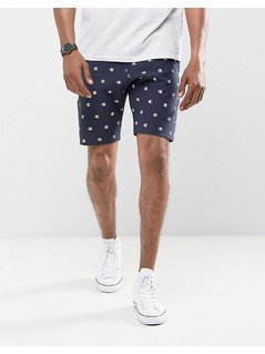 Champion Shorts With All Over Logo Print In Navy - Navy