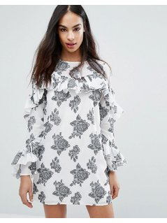 Missguided Rose Print Ruffle Detail Dress - White