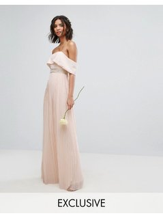 TFNC WEDDING Bardot Maxi Dress with Pleated Skirt and Embellished Waist - Pink