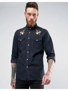 ASOS Regular Fit Western Denim Shirt With Distressing and Placement Embroidery - Black