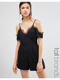 New Look Tall Eyelash Lash Playsuit - Black