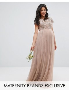 Maya Maternity Maxi Dress With Delicate Sequin And Tulle Skirt - Grey