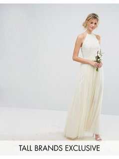 Maya Tall High Neck Maxi Tulle Dress With Tonal Delicate Sequins - Cream