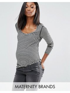 Noppies Maternity Striped Long Sleeve Reversible Top - Multi