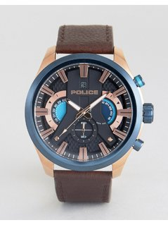 Police Cyclone Date Watch Black Dial With Brown Leather Strap - Brown